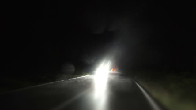 POV Night Drive In The Rain