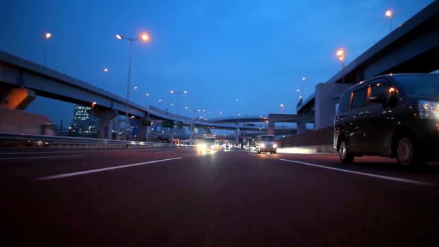 Nacht drive in Tokio, Rückansicht
