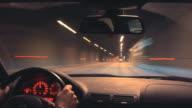 Guida notturna time-lapse