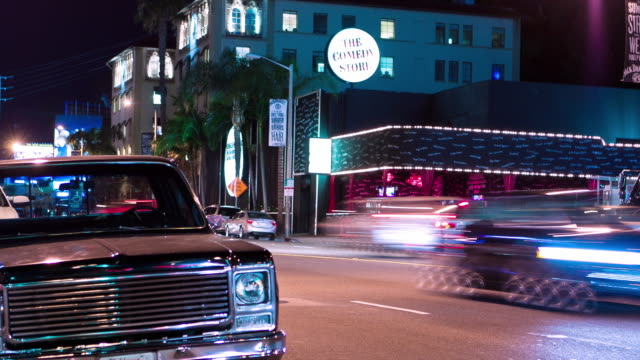 WS T/L ZI night exterior of historic Comedy Store on the Sunset Strip