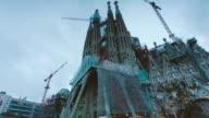 Night falls on Barcelona's Sagrada Familia