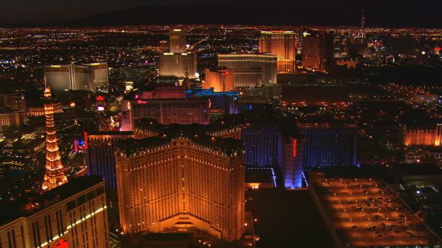 Night flight over Las Vegas Strip
