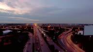 Nacht snelweg verkeer in Bangkok, Thailand, luchtfoto