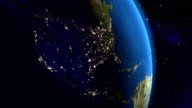 Night in North America from space