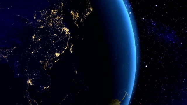 Night in Southeast Asia from space