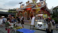 Night market in front of chinese temple