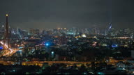 Night modem city Bangkok panoramic view
