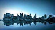 Night New York and Brooklyn Bridge.