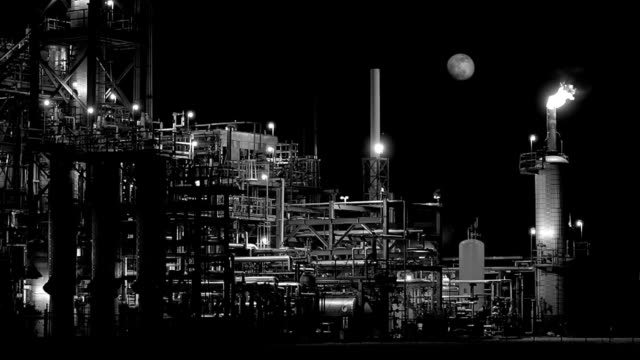 Night Refinery With Moon BW