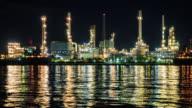Night scene of petrochemical plant, Eastern Thailand