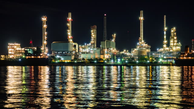 Night scene of petrochemical plant, Eastern Thailand