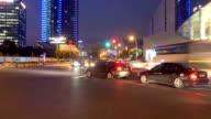 night scene of road in shanghai time lapse 4k