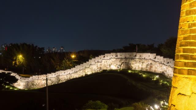 Night scenery of fortified wall at the Banhwasurujeong(Korea Treasure 1709) in the Suwon Hwaseong castle
