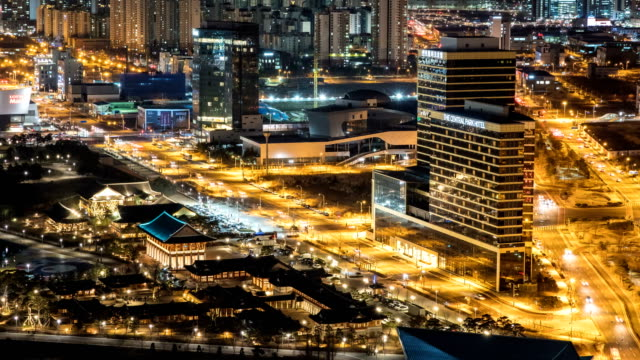 Night Scenery of Korean Traditional House at Songdo International Business District