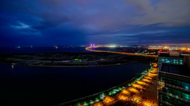 Night scenery view of Incheon Bridge (A longest bridge in South Korea) and seascape
