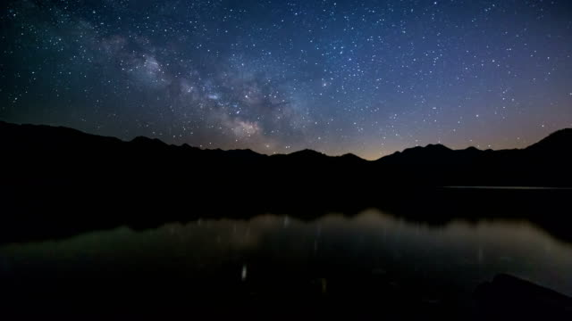 Night Scenery view of Milky Way over mountains of Soyang Lake (Famous travel destination)