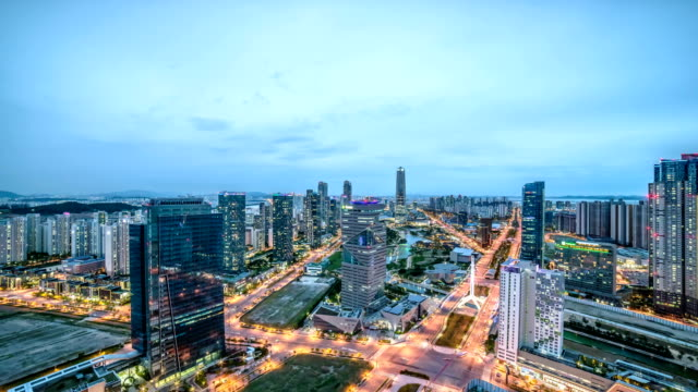 Night scenery view of traffic moving near Songdo(International Business District) Central Park and G-Tower