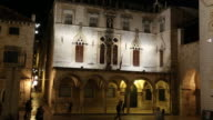 Night shot of the Gothic-Renaissance Sponza Palace, Dubrovnik