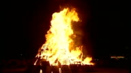 Night shots Bonfire burning with bright orange flames