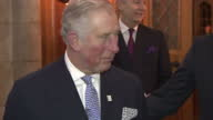 Night shots of HRH Prince Charles arriving at a fundraiser for World Jewish Relief and making a speech about becoming a patron for the organisation...