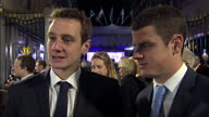 Night shots of Olympic triathletes Alistair Brownlee and Jonathan Brownlee giving an interview on the red carpet at the Pride of Britain awards on...