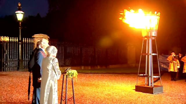 Night shots Queen ligjhts a beacon accompanied by Prince Philip Duke of Edinburghduring three days of national commemorations to mark the 70th...