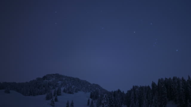 night sky over winter landscapes in mountains