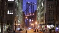 WS Night street scene with Manhattan Bridge / Dumbo, New York City, USA