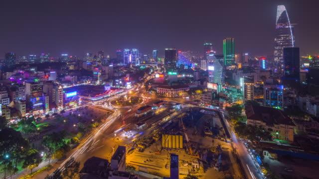 Night Timelapse of Ben Thanh Market, Ho Chi Minh City (Saigon) Vietnam (Wide View)