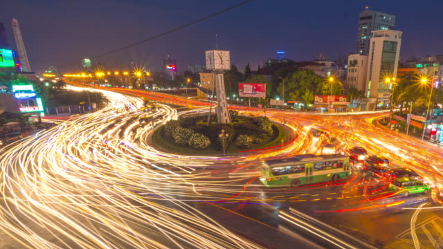 Night Timelapse of Traffic Moving Around Roundabout, Ho Chi Minh City (Saigon), Vietnam