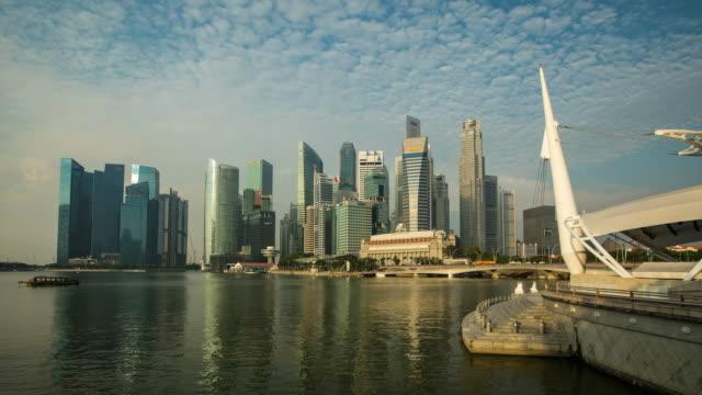 Nacht zu Tag Zeitraffer des Geschäftsviertels von Singapur