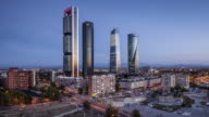 Night to day TL of Cuatro Torres Business Area in Madrid, Spain.