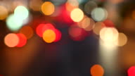 Night traffic jam with defocused light mode