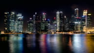 Night view across Marina Bay towards the City