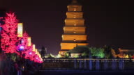 WS T/L Night view of Big Wild Goose Pagoda with largest music fountain / Xian, Shaanxi, China