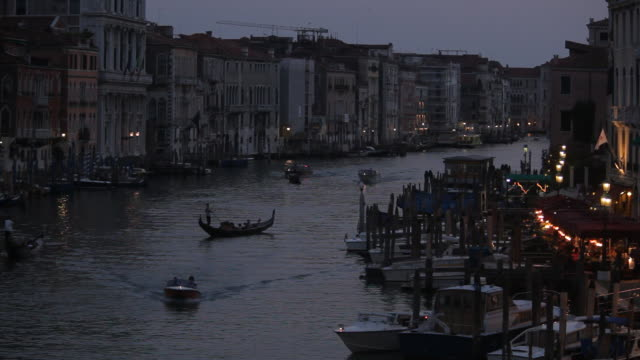 WS LD Night View of Boats Floating down Grand Canal / Venice, Italy