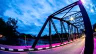 Night View of iron Bridge in Chiang mai Thailand