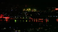 Night view of Kitakyushu City seen from Takatoyama Park Observation Deck Town area and a group of industrial plants colored red orange yellow and...