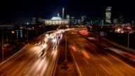 Night view of National Assembly Building and traffic moving