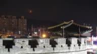 MS T/L Night view of Suwon Hwaseong Castle Janganmun Gate (Unesco World Heritage) / Suwon, Kyonggi-Do Province, South Korea