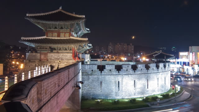 MS T/L Night view of Suwon janganmun Castle (UNESCO Heritage) / Suwon, Kyonggi-Do Province, South Korea