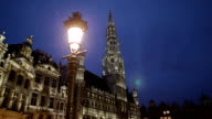 Night view of the town hall building on Grand Place in Brussels.