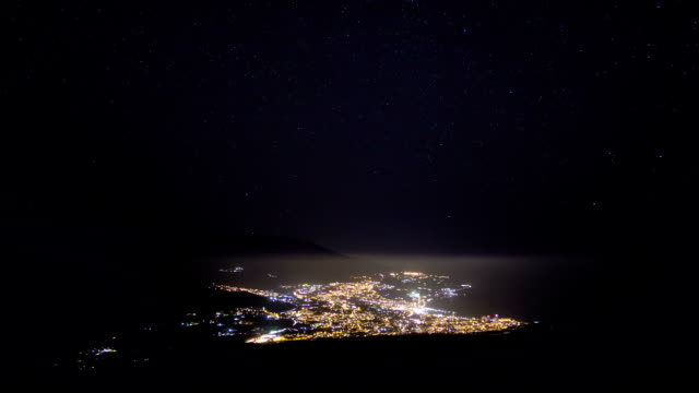 TL Night view of the Yalta city and moving stars on the sky/ Crimea, Yalta