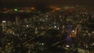 AERIAL, Night View Over Tokyo Downtown