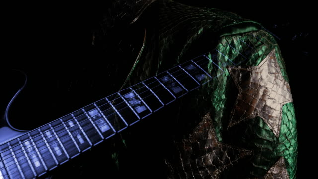 Nightclub Nightlife Background. Guitar and Music Star Jacket