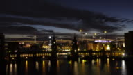 Nightfall shot of Berlin with Oberbaum bridge and TV Tower