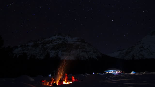 Nightime timelapse of winter camping