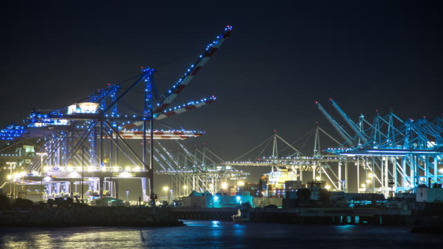 Nighttime Unloading at the Port of Los Angeles - Time Lapse