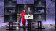 SPEECH Nikki James and Andrew Rannells announce nominees for Best Original Score at The Tony Awards Nominations Announcement at The Paramount Hotel...