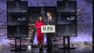 SPEECH Nikki James and Andrew Rannells announce nominees for Best Play at The Tony Awards Nominations Announcement at The Paramount Hotel on May 03...